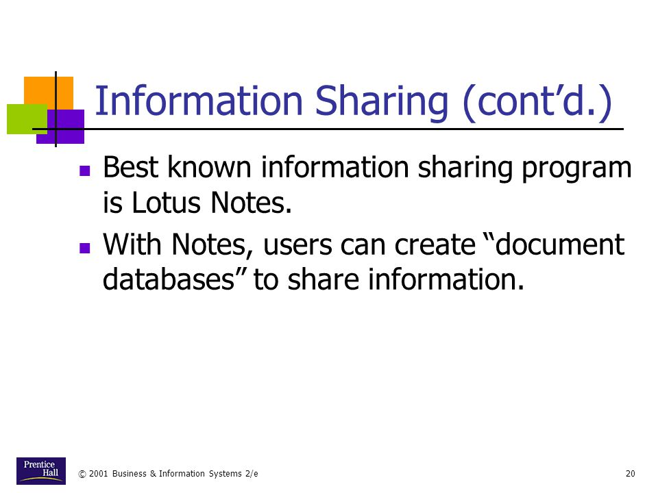 © 2001 Business & Information Systems 2/e20 Information Sharing (cont'd.) Best known information sharing program is Lotus Notes.