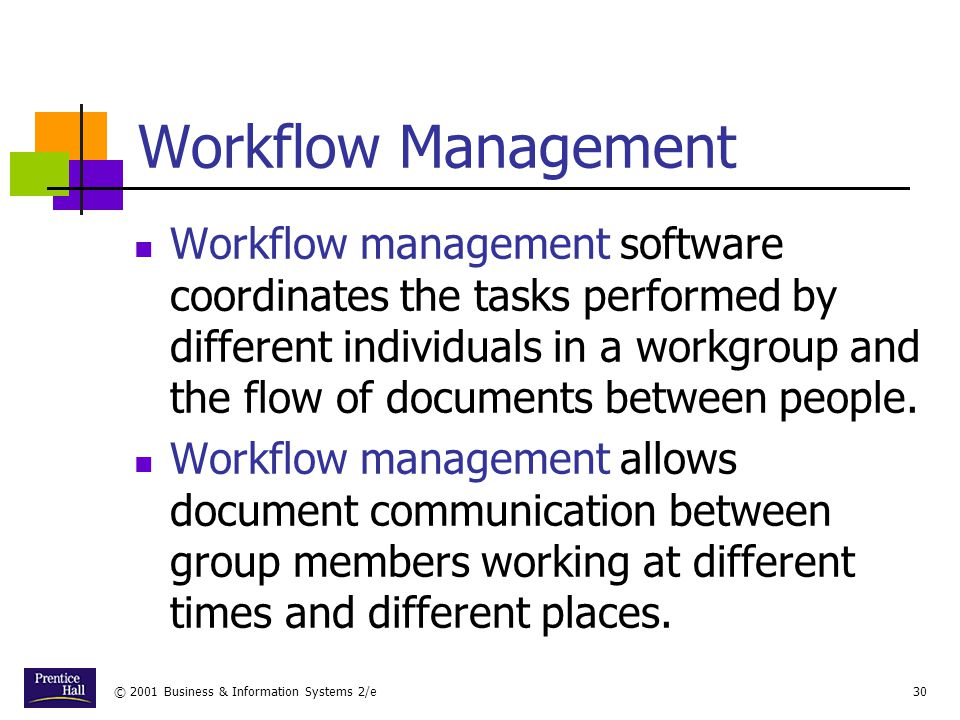 © 2001 Business & Information Systems 2/e30 Workflow Management Workflow management software coordinates the tasks performed by different individuals in a workgroup and the flow of documents between people.