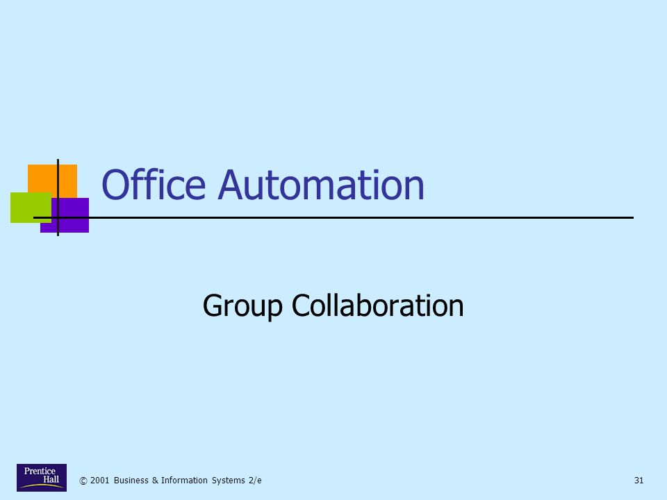 © 2001 Business & Information Systems 2/e31 Office Automation Group Collaboration
