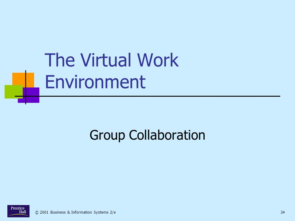 © 2001 Business & Information Systems 2/e34 The Virtual Work Environment Group Collaboration