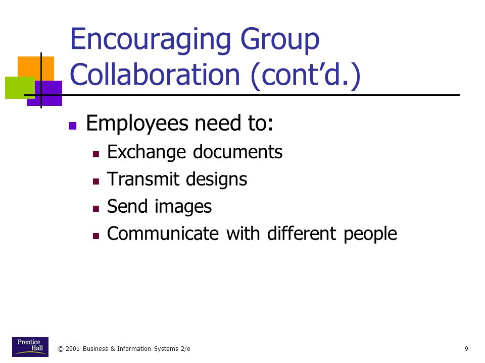 © 2001 Business & Information Systems 2/e9 Encouraging Group Collaboration (cont'd.) Employees need to: Exchange documents Transmit designs Send images Communicate with different people