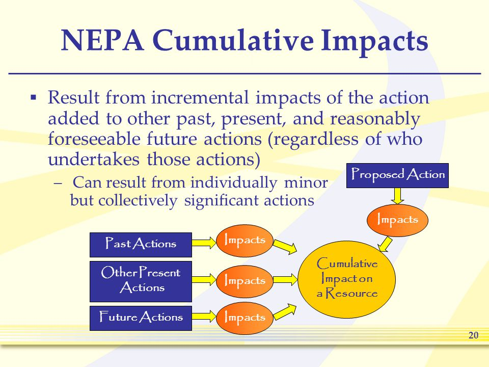 20 NEPA Cumulative Impacts  Result from incremental impacts of the action added to other past, present, and reasonably foreseeable future actions (regardless of who undertakes those actions) –Can result from individually minor but collectively significant actions Proposed Action Past Actions Other Present Actions Future Actions Cumulative Impact on a Resource Impacts
