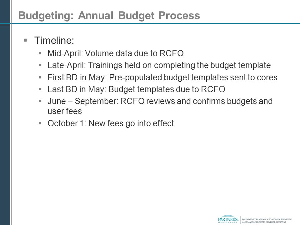 Budgeting: Annual Budget Process  Timeline:  Mid-April: Volume data due to RCFO  Late-April: Trainings held on completing the budget template  Fir