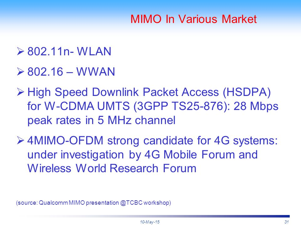 10-May-1531 MIMO In Various Market  802.11n- WLAN  802.16 – WWAN  High Speed Downlink Packet Access (HSDPA) for W-CDMA UMTS (3GPP TS25-876): 28 Mbp