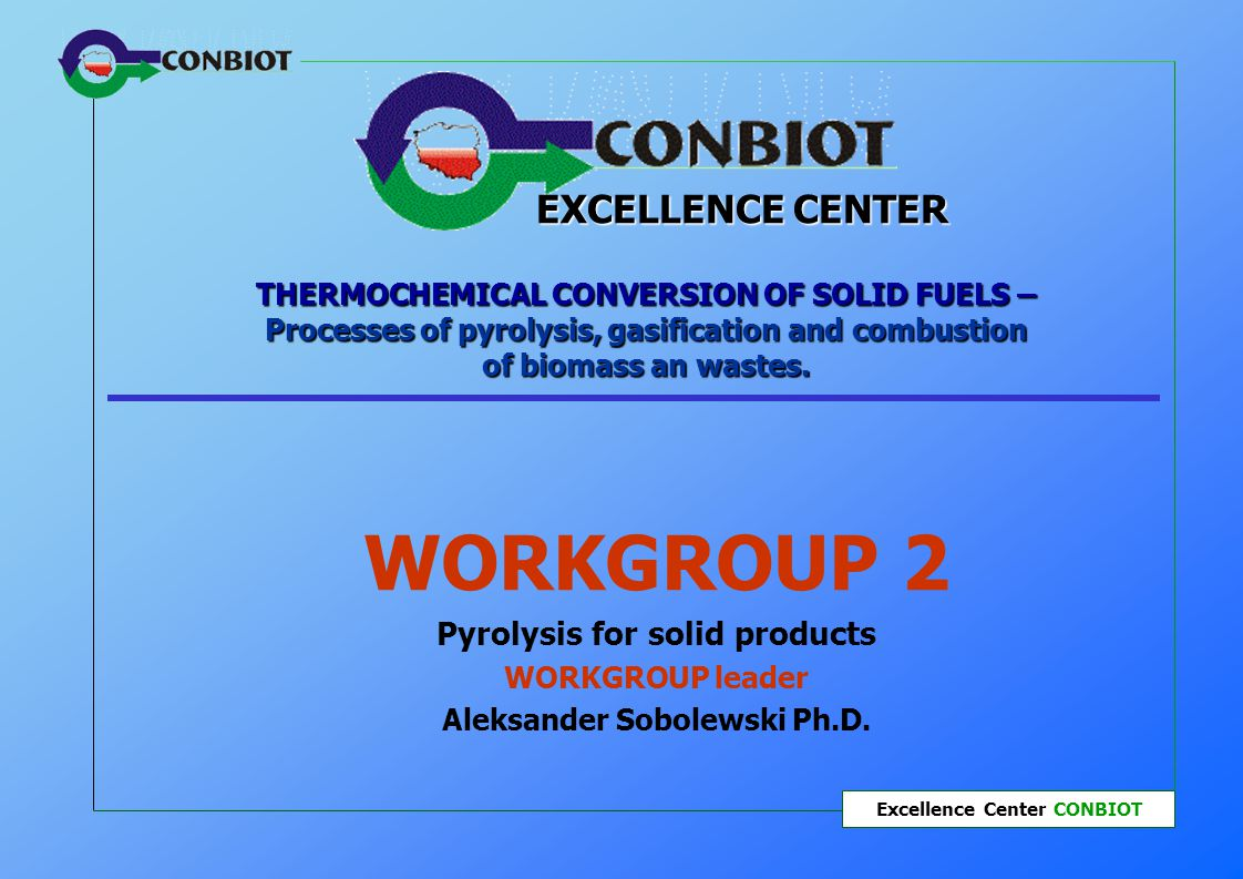 Workgroup 2 – Pyrolysis for solid products Excellence Center CONBIOT Twinnings Task 3.4 Co-operation with research centres from Germany and France in the field of biomass and industrial waste pyrolysis and of effective using refined pyrolysis products in the environmental protection processes.