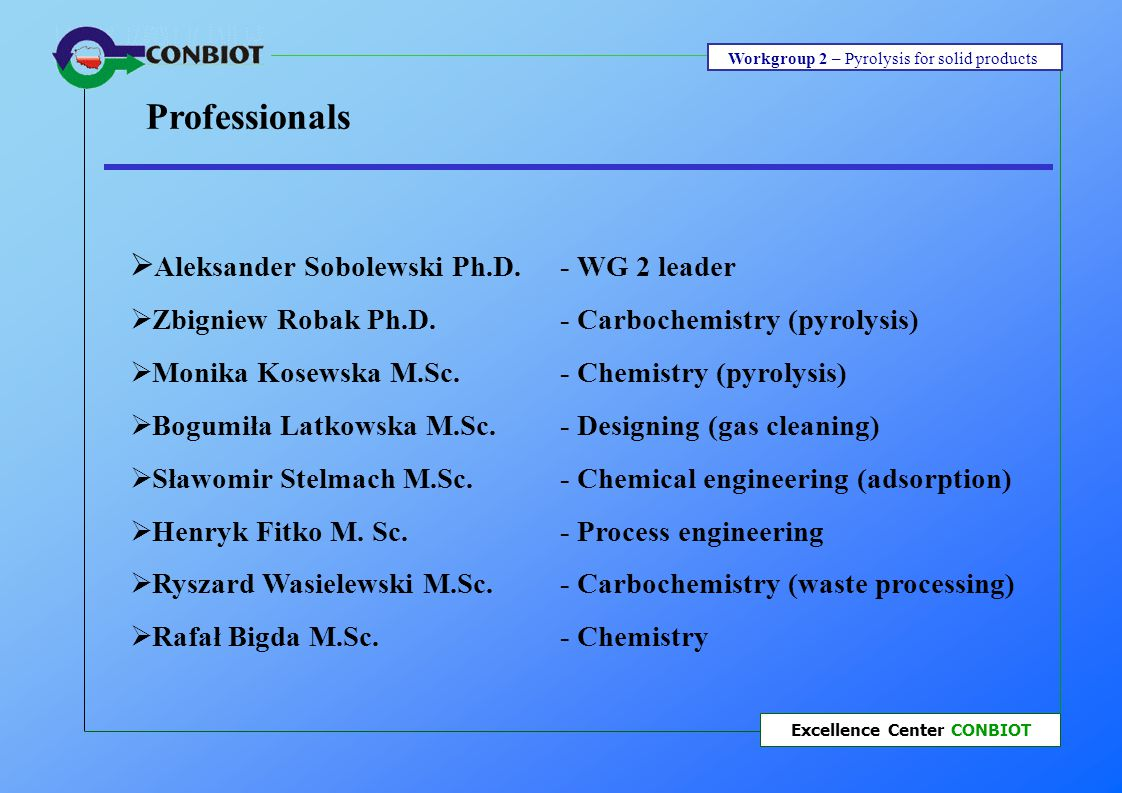 Workgroup 2 – Pyrolysis for solid products Excellence Center CONBIOT WG 2 –Competence: Today :  Our technological knowledge (pyrolysis and gasification),  Experience of solid wastes processing,  Our existing databases.