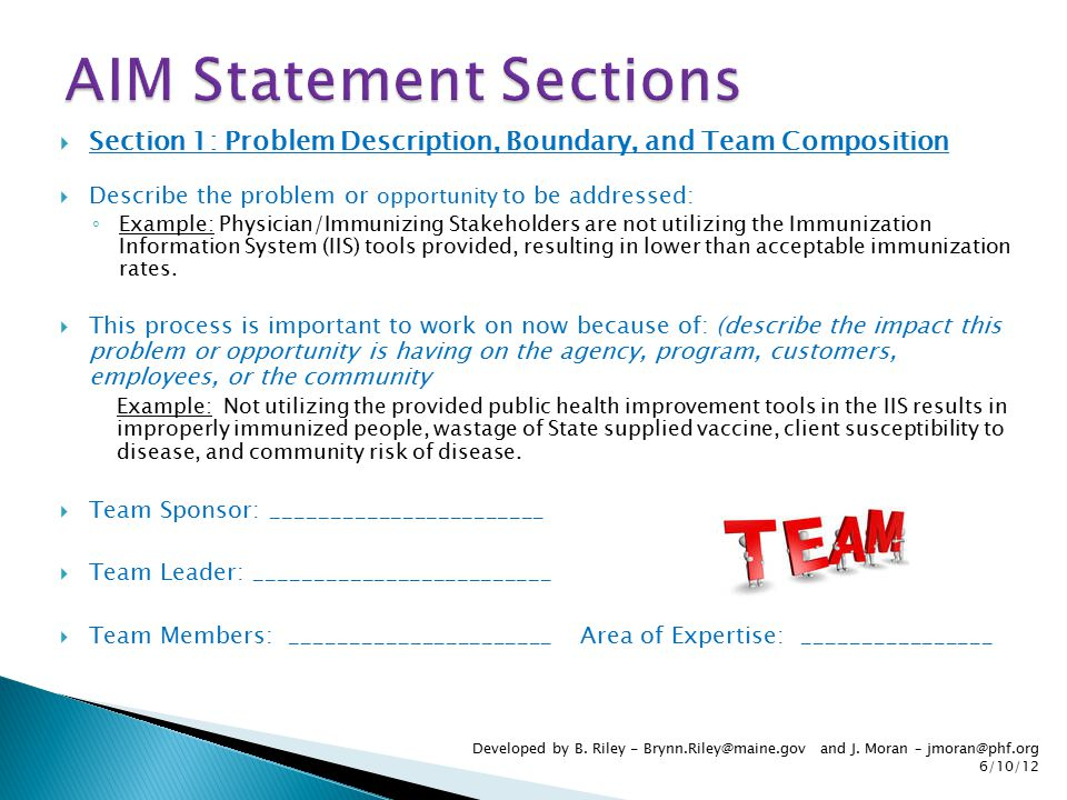  Section 1: Problem Description, Boundary, and Team Composition  Describe the problem or opportunity to be addressed: ◦ Example: Physician/Immunizin
