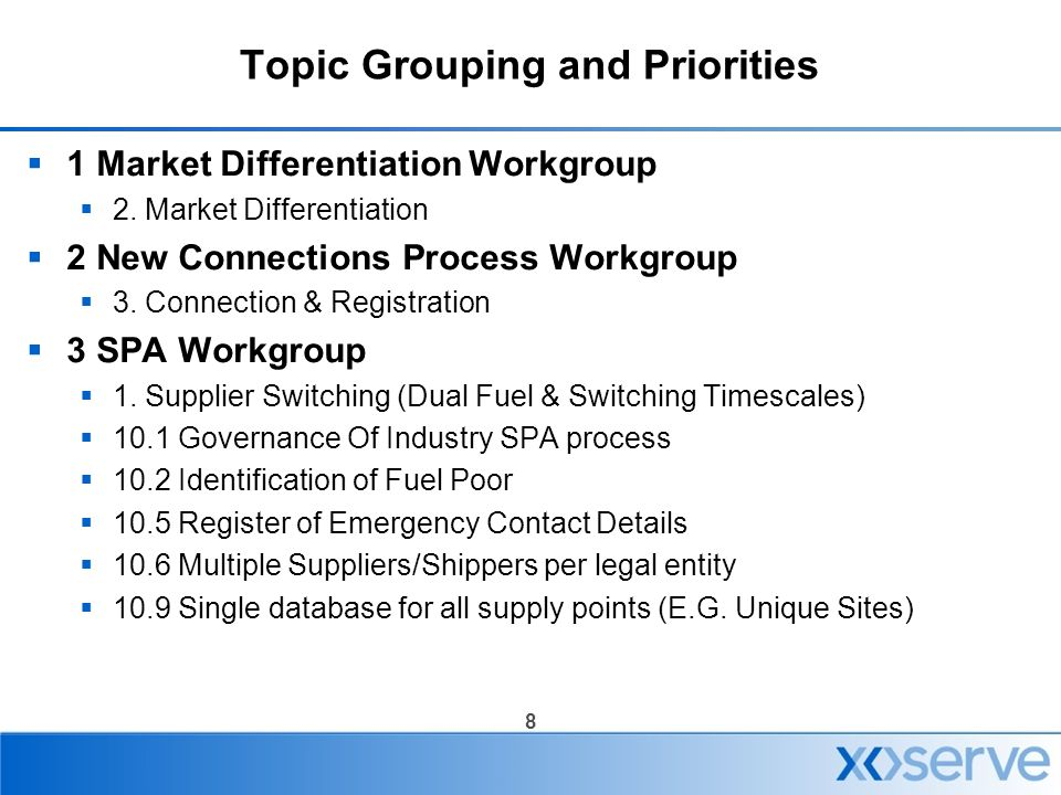 8 Topic Grouping and Priorities  1 Market Differentiation Workgroup  2. Market Differentiation  2 New Connections Process Workgroup  3. Connection
