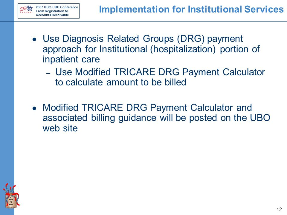 2007 UBO/UBU Conference From Registration to Accounts Receivable 12 Implementation for Institutional Services Use Diagnosis Related Groups (DRG) payment approach for Institutional (hospitalization) portion of inpatient care – Use Modified TRICARE DRG Payment Calculator to calculate amount to be billed Modified TRICARE DRG Payment Calculator and associated billing guidance will be posted on the UBO web site