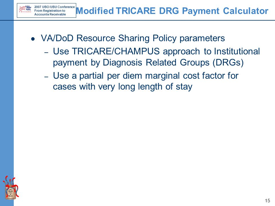 2007 UBO/UBU Conference From Registration to Accounts Receivable 15 Modified TRICARE DRG Payment Calculator VA/DoD Resource Sharing Policy parameters – Use TRICARE/CHAMPUS approach to Institutional payment by Diagnosis Related Groups (DRGs) – Use a partial per diem marginal cost factor for cases with very long length of stay