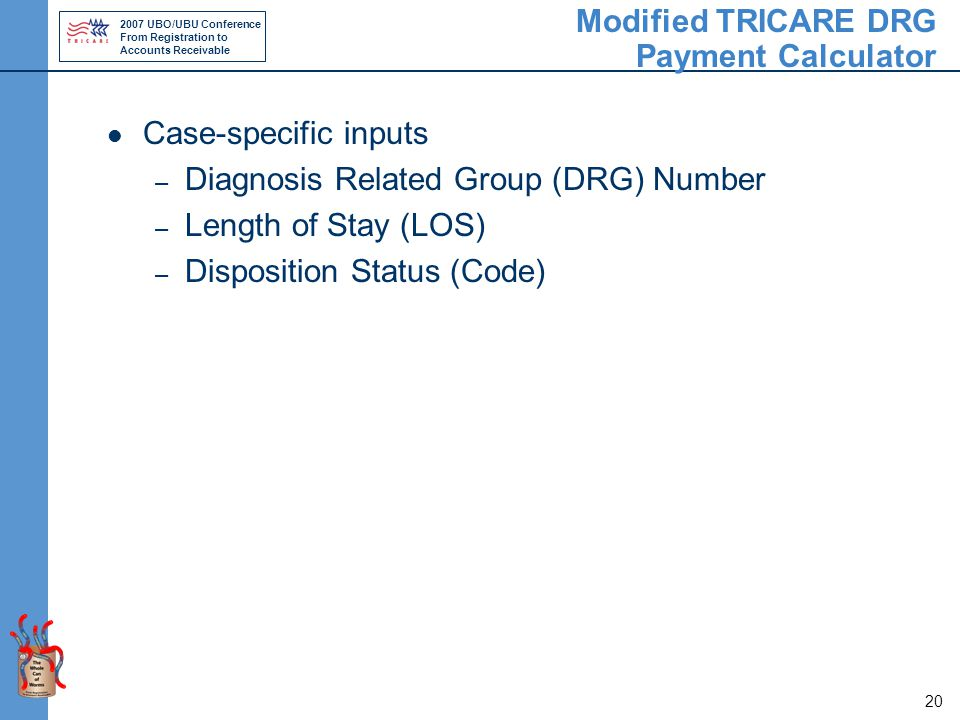 2007 UBO/UBU Conference From Registration to Accounts Receivable 20 Modified TRICARE DRG Payment Calculator Case-specific inputs – Diagnosis Related Group (DRG) Number – Length of Stay (LOS) – Disposition Status (Code)