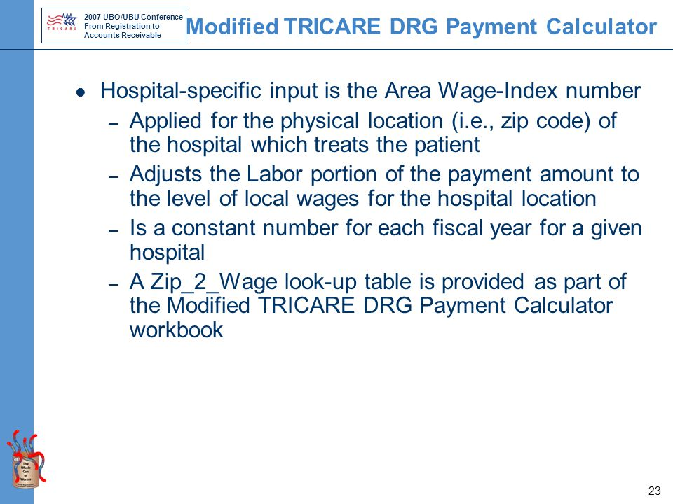 2007 UBO/UBU Conference From Registration to Accounts Receivable 23 Modified TRICARE DRG Payment Calculator Hospital-specific input is the Area Wage-Index number – Applied for the physical location (i.e., zip code) of the hospital which treats the patient – Adjusts the Labor portion of the payment amount to the level of local wages for the hospital location – Is a constant number for each fiscal year for a given hospital – A Zip_2_Wage look-up table is provided as part of the Modified TRICARE DRG Payment Calculator workbook