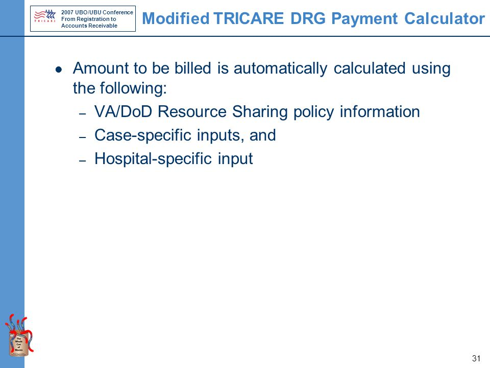 2007 UBO/UBU Conference From Registration to Accounts Receivable 31 Modified TRICARE DRG Payment Calculator Amount to be billed is automatically calculated using the following: – VA/DoD Resource Sharing policy information – Case-specific inputs, and – Hospital-specific input