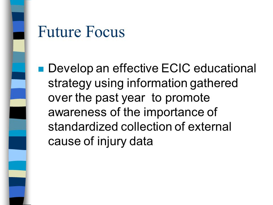 Future Focus n Develop an effective ECIC educational strategy using information gathered over the past year to promote awareness of the importance of