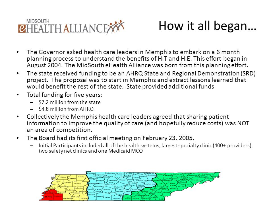 How it all began… The Governor asked health care leaders in Memphis to embark on a 6 month planning process to understand the benefits of HIT and HIE.