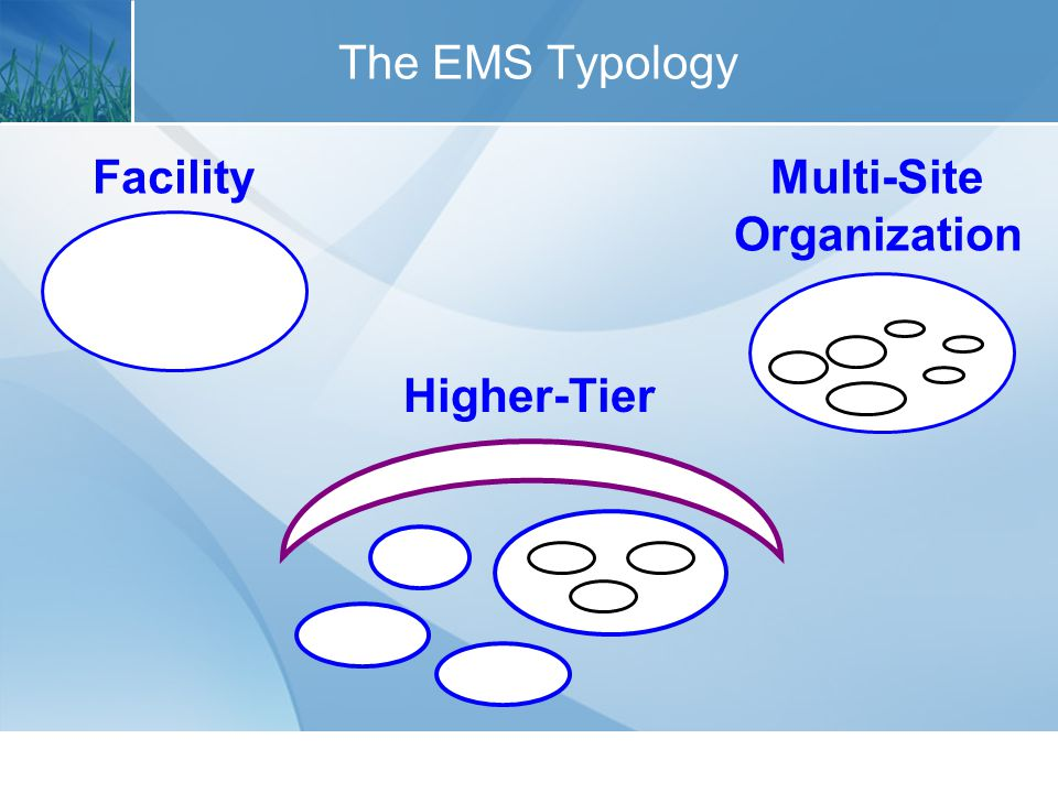 Facility EMS Other terms used: appropriate facility site EMS single-site organization EMS office EMS EMS