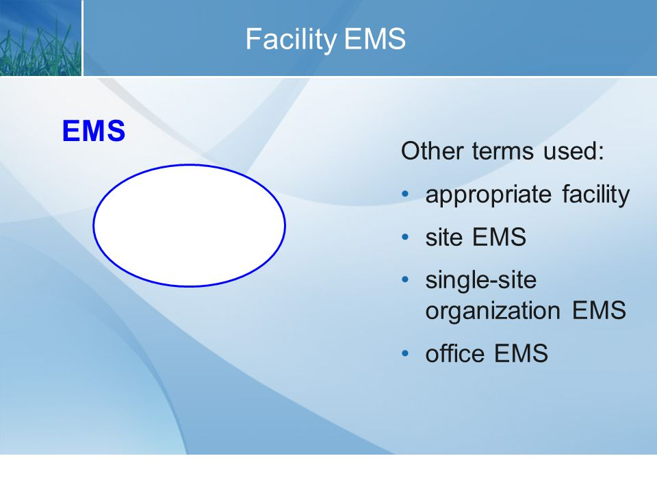 Multi-Site Organization EMS Other terms used: enterprise EMS corporate EMS agency-wide EMS multi-site EMS program EMS EMS