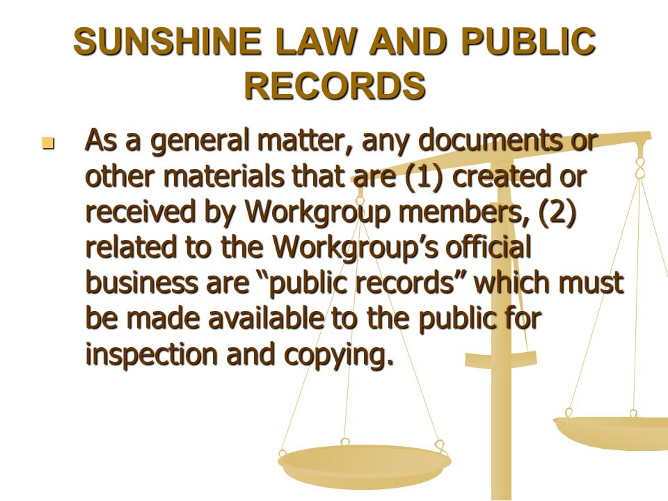 SUNSHINE LAW AND PUBLIC RECORDS As a general matter, any documents or other materials that are (1) created or received by Workgroup members, (2) related to the Workgroup's official business are public records which must be made available to the public for inspection and copying.