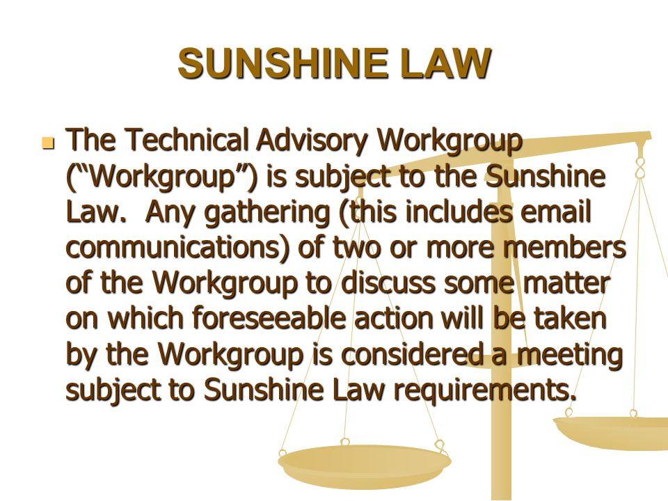 SUNSHINE LAW The Technical Advisory Workgroup ( Workgroup ) is subject to the Sunshine Law.