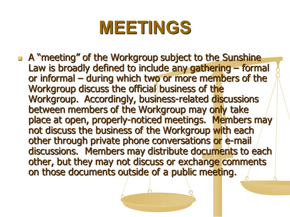 MEETINGS A meeting of the Workgroup subject to the Sunshine Law is broadly defined to include any gathering – formal or informal – during which two or more members of the Workgroup discuss the official business of the Workgroup.