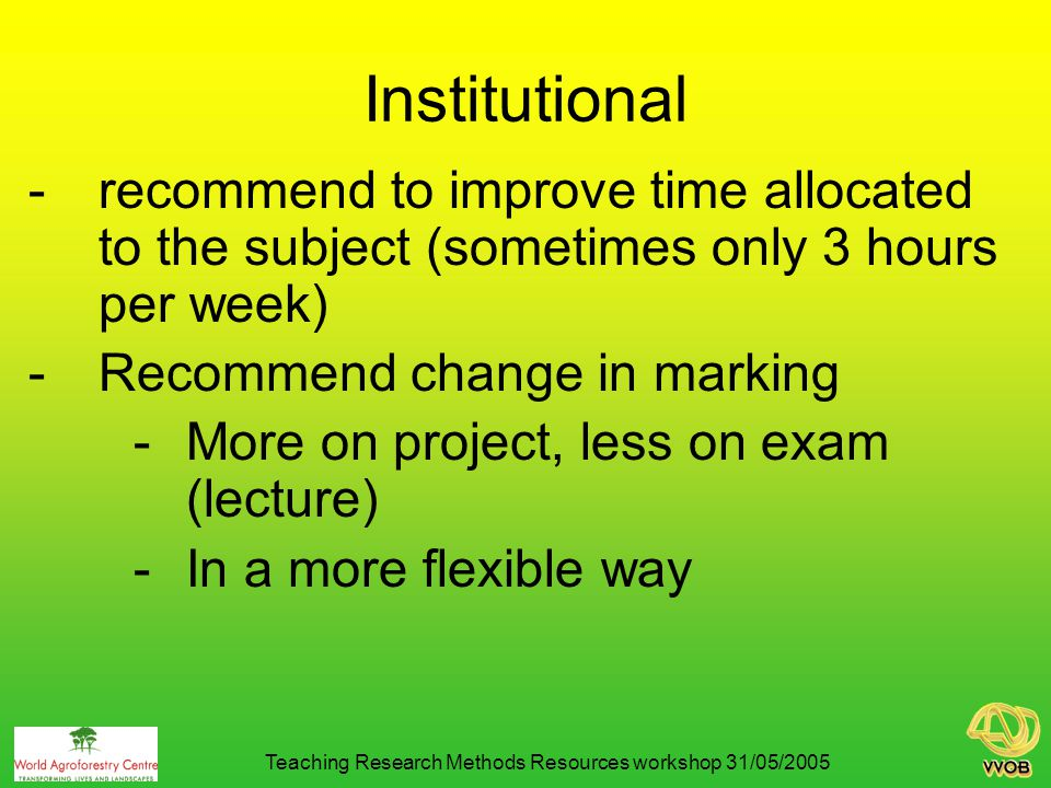 Institutional -recommend to improve time allocated to the subject (sometimes only 3 hours per week) -Recommend change in marking -More on project, less on exam (lecture) -In a more flexible way Teaching Research Methods Resources workshop 31/05/2005