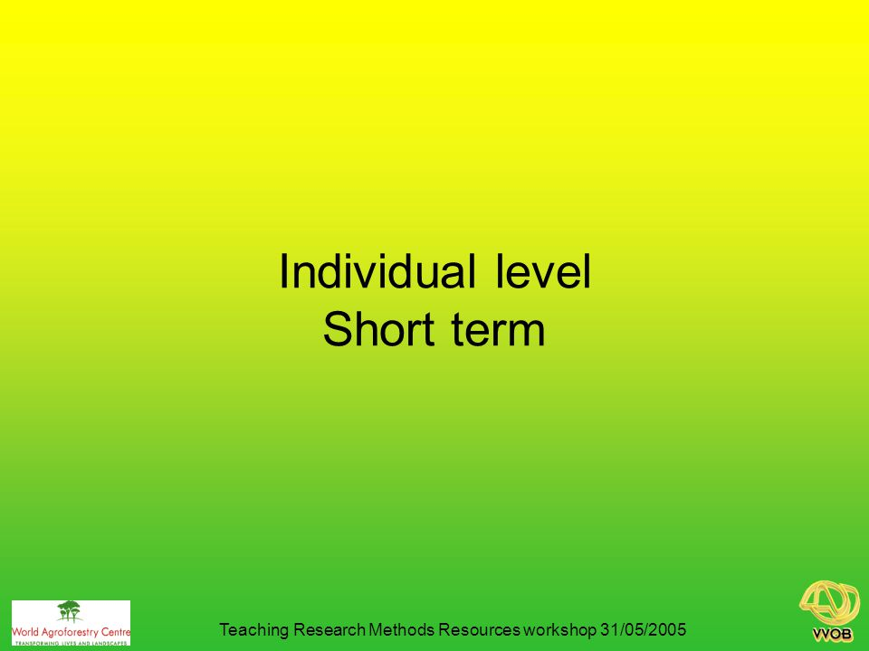 Individual level Short term Teaching Research Methods Resources workshop 31/05/2005