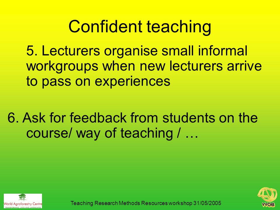 Anti Fraud 7. Mention it very explicit Teaching Research Methods Resources workshop 31/05/2005