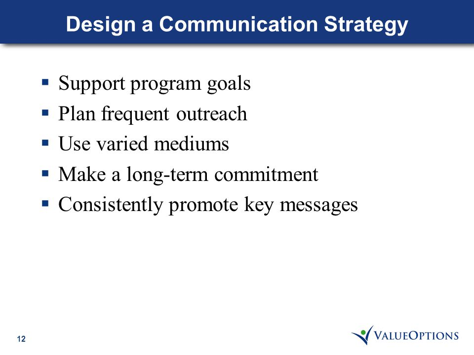 12 Design a Communication Strategy  Support program goals  Plan frequent outreach  Use varied mediums  Make a long-term commitment  Consistently promote key messages