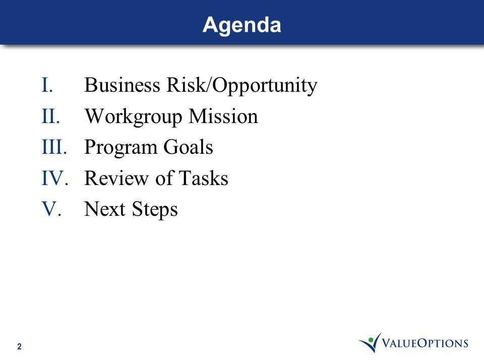 2 Agenda I.Business Risk/Opportunity II.Workgroup Mission III.Program Goals IV.Review of Tasks V.Next Steps