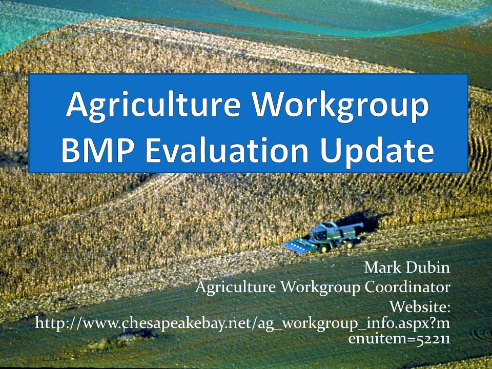 Mark Dubin Agriculture Workgroup Coordinator Website: http://www.chesapeakebay.net/ag_workgroup_info.aspx?m enuitem=52211