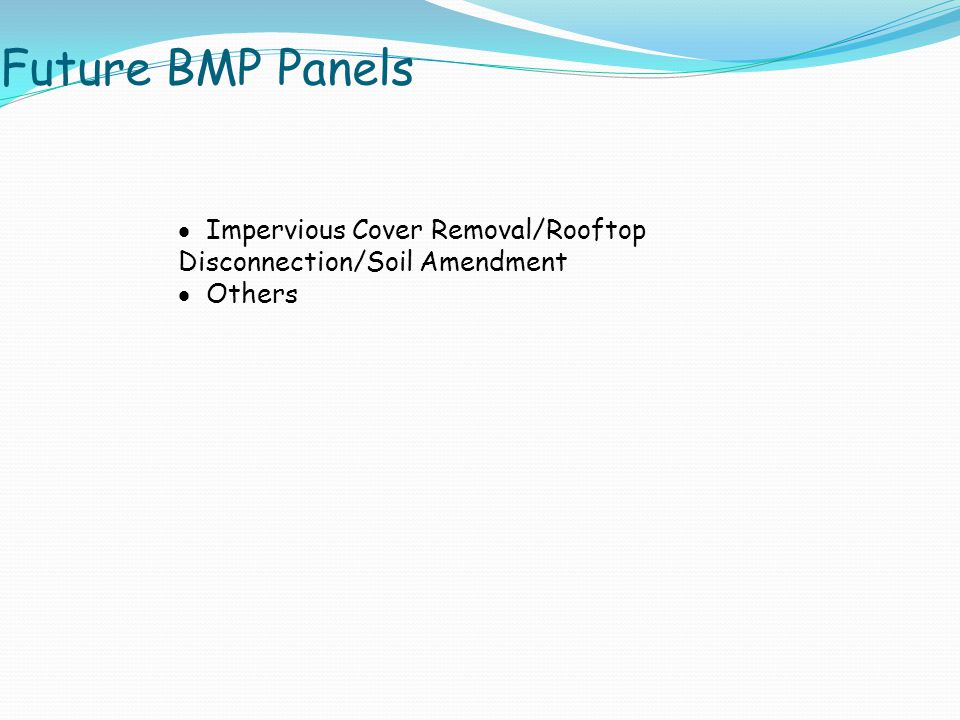 Future BMP Panels  Impervious Cover Removal/Rooftop Disconnection/Soil Amendment  Others