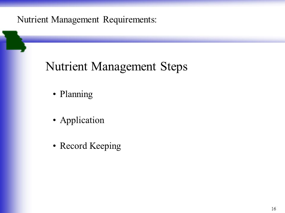 16 Nutrient Management Requirements: Nutrient Management Steps Planning Application Record Keeping