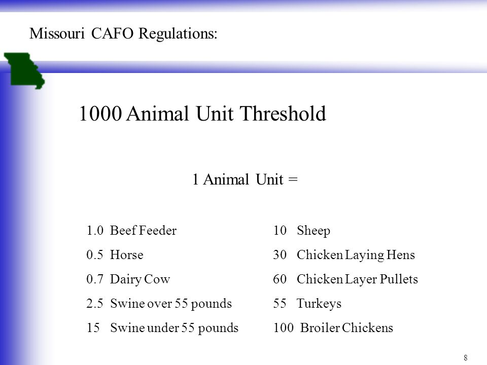 1000 Animal Unit Threshold 1 Animal Unit = 1.0 Beef Feeder 0.5 Horse 0.7 Dairy Cow 2.5 Swine over 55 pounds 15 Swine under 55 pounds Missouri CAFO Reg