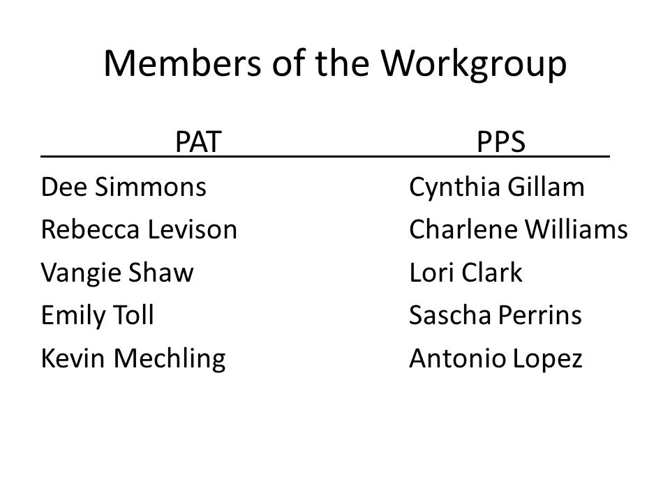 Members of the Workgroup PATPPS Dee SimmonsCynthia Gillam Rebecca LevisonCharlene Williams Vangie ShawLori Clark Emily TollSascha Perrins Kevin MechlingAntonio Lopez
