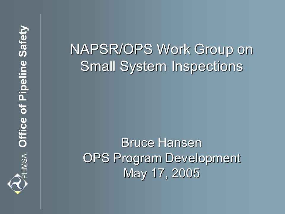 NAPSR/OPS Work Group on Small System Inspections Bruce Hansen OPS Program Development May 17, 2005