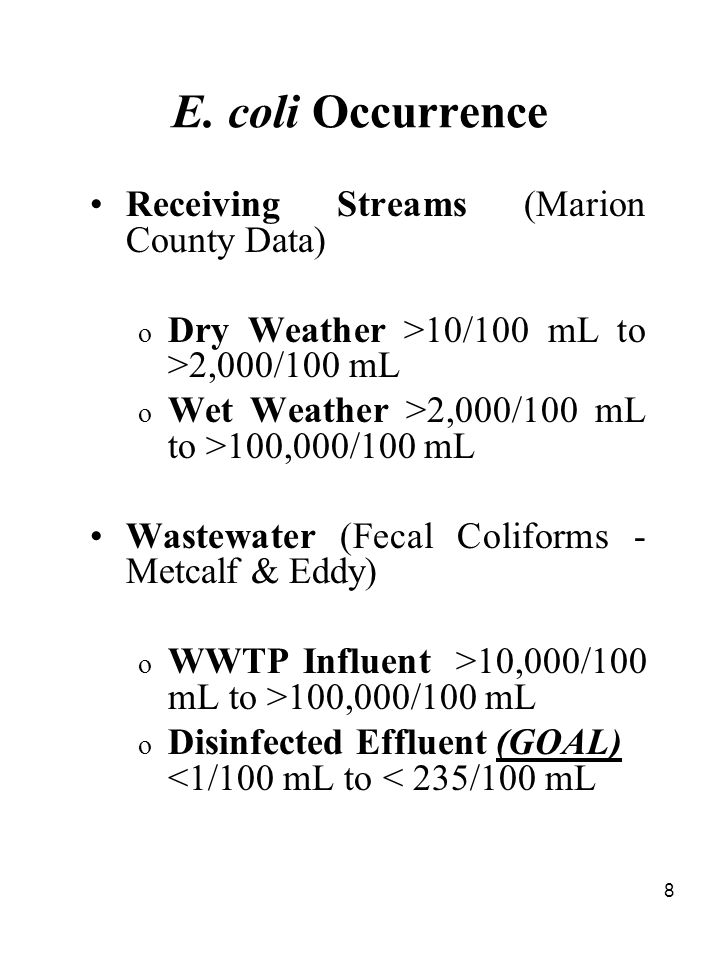 8 E. coli Occurrence Receiving Streams (Marion County Data) o Dry Weather >10/100 mL to >2,000/100 mL o Wet Weather >2,000/100 mL to >100,000/100 mL W