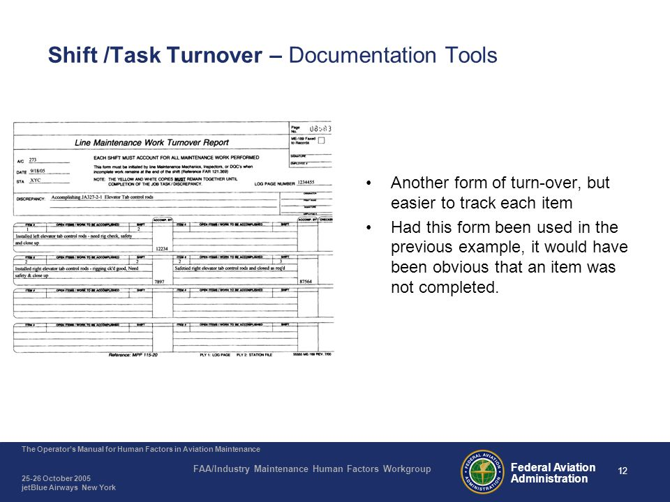 12 The Operator's Manual for Human Factors in Aviation Maintenance FAA/Industry Maintenance Human Factors Workgroup 25-26 October 2005 jetBlue Airways New York Federal Aviation Administration Shift /Task Turnover – Documentation Tools Another form of turn-over, but easier to track each item Had this form been used in the previous example, it would have been obvious that an item was not completed.