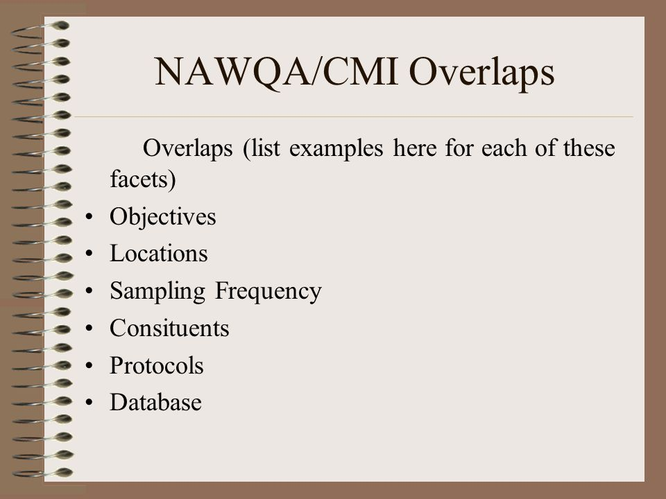 NAWQA/CMI Overlaps Overlaps (list examples here for each of these facets) Objectives Locations Sampling Frequency Consituents Protocols Database