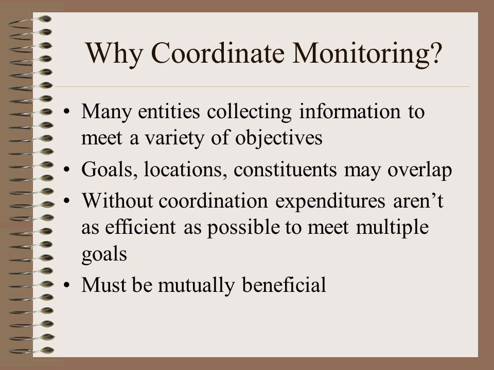 Why Coordinate Monitoring.