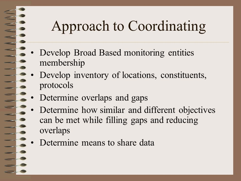 Approach to Coordinating Develop Broad Based monitoring entities membership Develop inventory of locations, constituents, protocols Determine overlaps