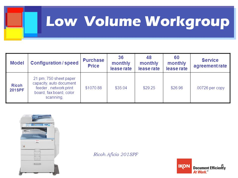 6 Low Volume Workgroup ModelConfiguration / speed Purchase Price 36 monthly lease rate 48 monthly lease rate 60 monthly lease rate Service agreement rate Ricoh 201SPF 21 pm; 750 sheet paper capacity, auto document feeder, network print board, fax board, color scanning, $1070.88$35.04$29.25$26.96.00726 per copy Ricoh Aficio 201SPF