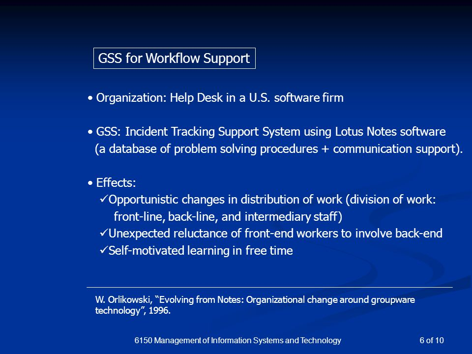 6150 Management of Information Systems and Technology Organization: Help Desk in a U.S.