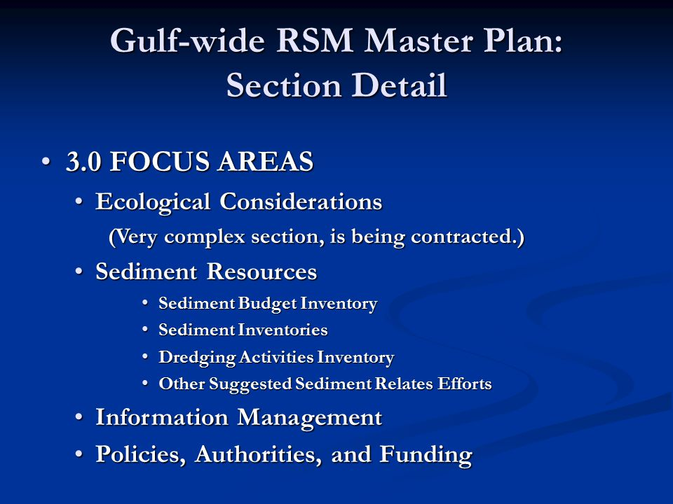 Gulf-wide RSM Master Plan: Section Detail 3.0 FOCUS AREAS3.0 FOCUS AREAS Ecological ConsiderationsEcological Considerations (Very complex section, is
