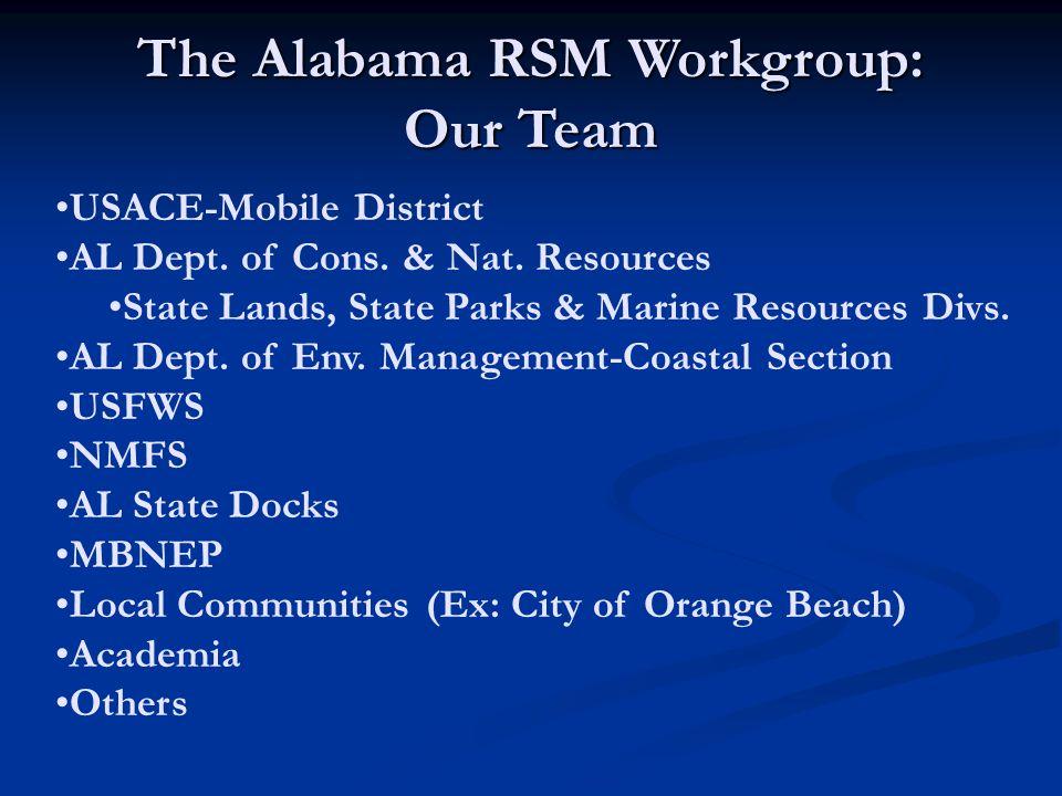 USACE-Mobile District AL Dept. of Cons. & Nat. Resources State Lands, State Parks & Marine Resources Divs. AL Dept. of Env. Management-Coastal Section