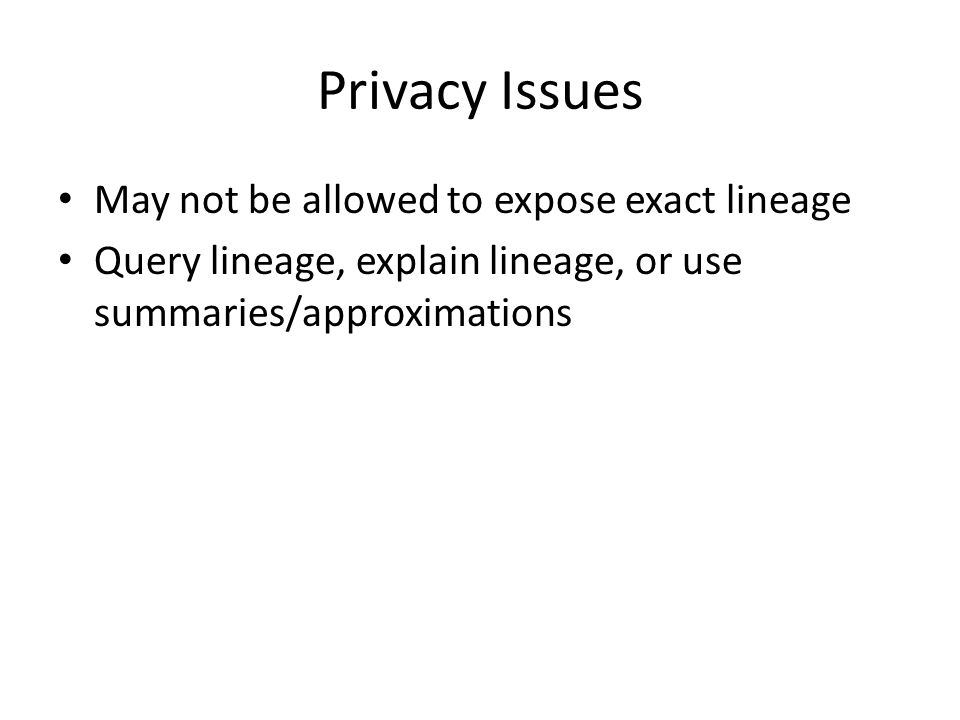 Privacy Issues May not be allowed to expose exact lineage Query lineage, explain lineage, or use summaries/approximations