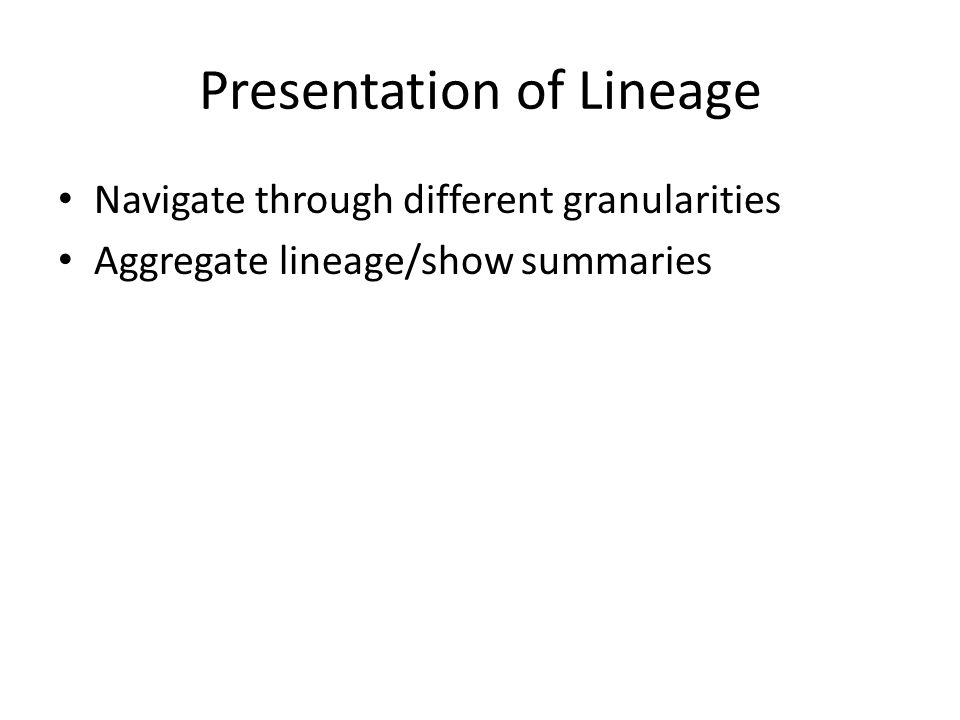 Presentation of Lineage Navigate through different granularities Aggregate lineage/show summaries