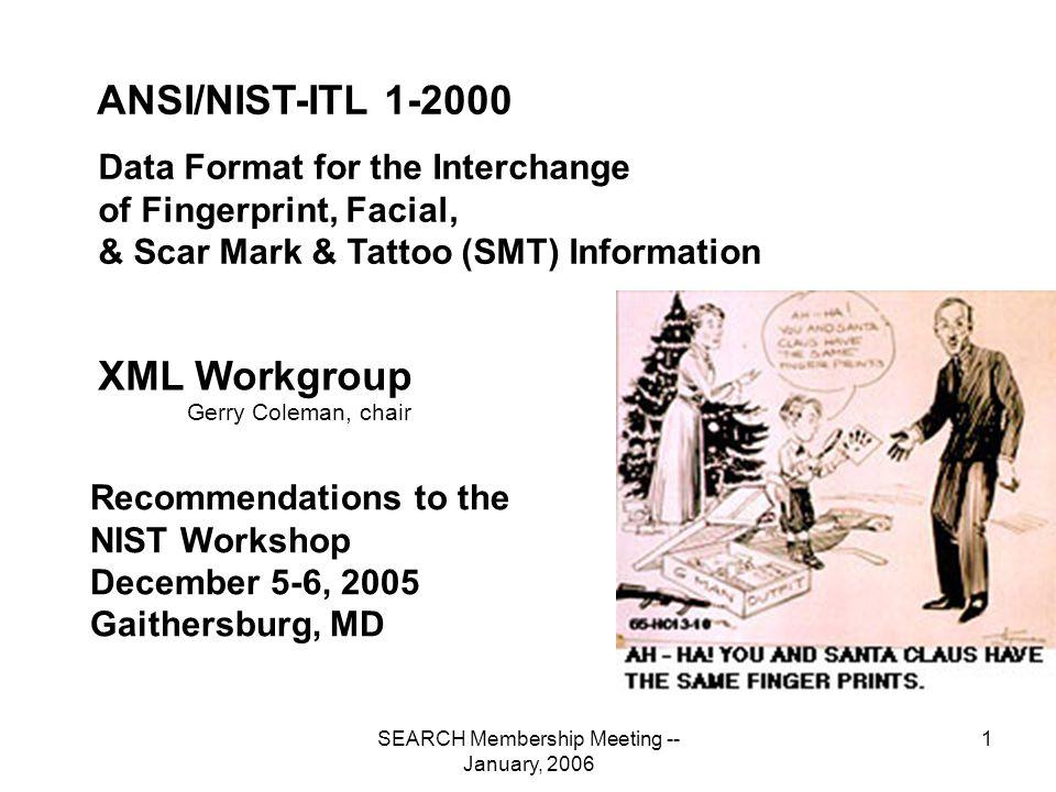 SEARCH Membership Meeting -- January, 2006 32 NIST-ITLBiometricInformationExchangePackage Type 16 ITLTestImageRecord LogicalRecordLength ImageDesignationCharacter UserDefinedFields Image