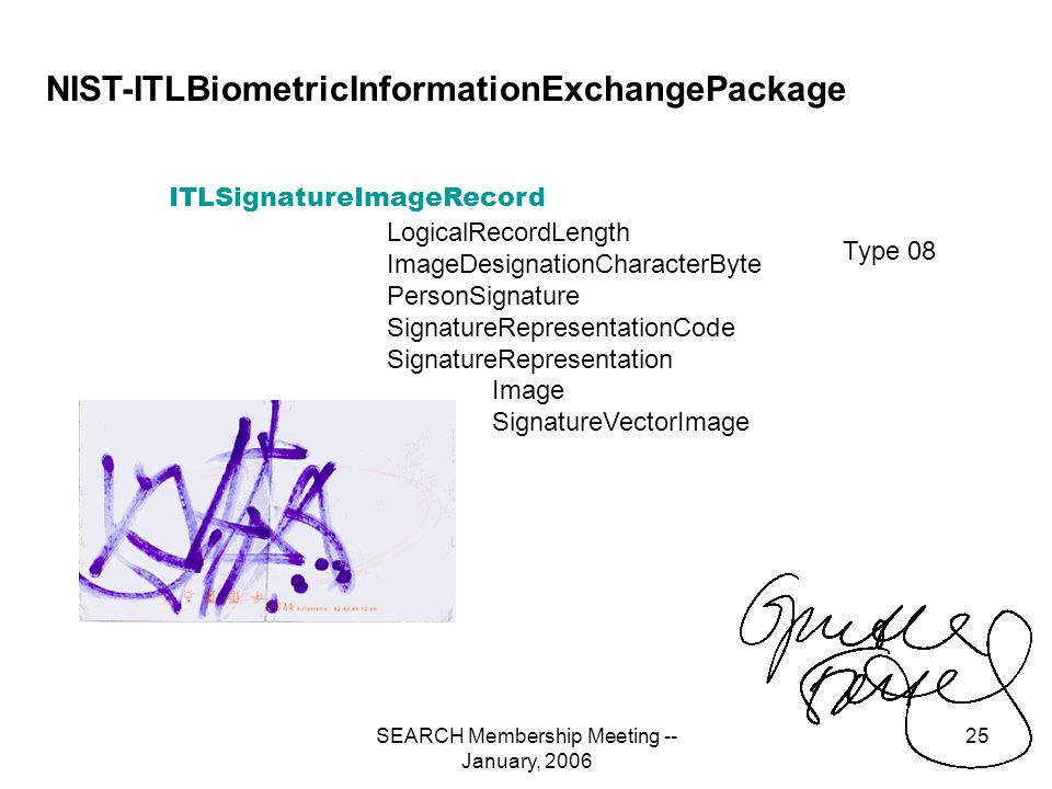 SEARCH Membership Meeting -- January, 2006 25 NIST-ITLBiometricInformationExchangePackage Type 08 ITLSignatureImageRecord LogicalRecordLength ImageDesignationCharacterByte PersonSignature SignatureRepresentationCode SignatureRepresentation Image SignatureVectorImage