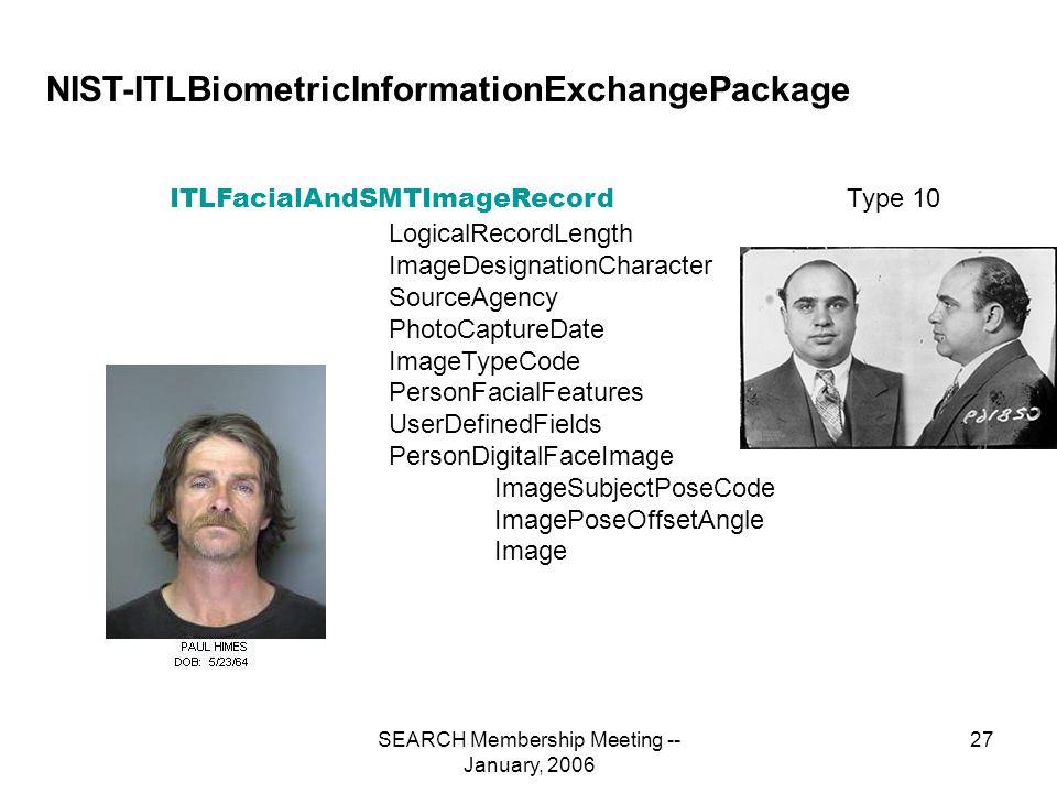 SEARCH Membership Meeting -- January, 2006 27 NIST-ITLBiometricInformationExchangePackage ITLFacialAndSMTImageRecord LogicalRecordLength ImageDesignationCharacter SourceAgency PhotoCaptureDate ImageTypeCode PersonFacialFeatures UserDefinedFields PersonDigitalFaceImage ImageSubjectPoseCode ImagePoseOffsetAngle Image Type 10