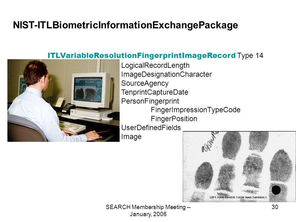 SEARCH Membership Meeting -- January, 2006 30 NIST-ITLBiometricInformationExchangePackage Type 14 ITLVariableResolutionFingerprintImageRecord LogicalRecordLength ImageDesignationCharacter SourceAgency TenprintCaptureDate PersonFingerprint FingerImpressionTypeCode FingerPosition UserDefinedFields Image